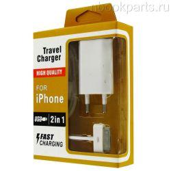 Сетевое зарядное устройство+USB кабель для iPhone 4/4S